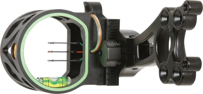 Sight on a Compound Bow with 3 Pin Sights